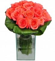 Arranjo de Rosas Rosa no Vidro Médio