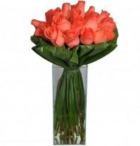 Buquê de Rosas Cor de Rosa no  Vidro Grande