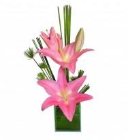 Ikebana de Lírios Rose